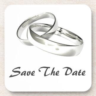 Las alianzas de boda de plata ahorran la fecha posavaso