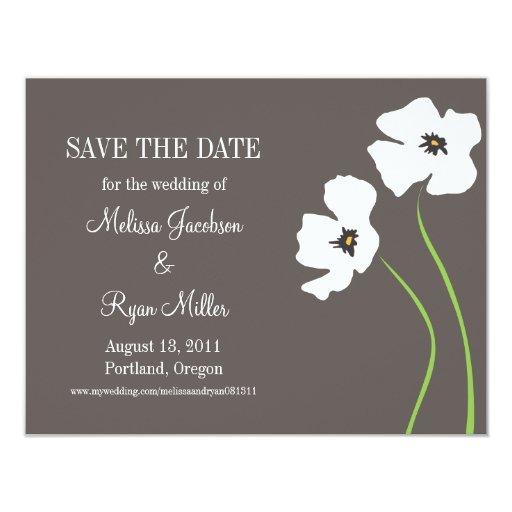 Las amapolas ahorran la fecha invitación 10,8 x 13,9 cm