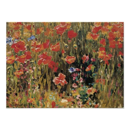 Las amapolas de Roberto Vonnoh, vintage florecen Póster