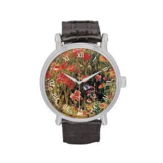 Las amapolas de Roberto Vonnoh, vintage florecen Reloj De Mano