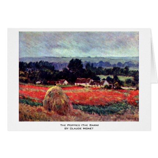 Las amapolas (el granero) por Claude Monet Felicitaciones