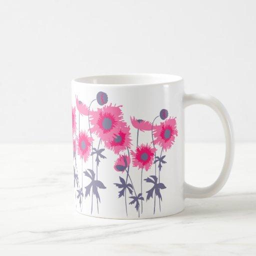 Las amapolas pican y taza floral gris del arte grá