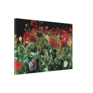 Las amapolas por Sargent, vintage florecen arte Lona Estirada Galerías