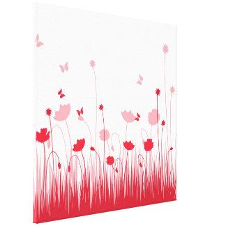 Las amapolas rojas envolvieron la lona impresión en lienzo