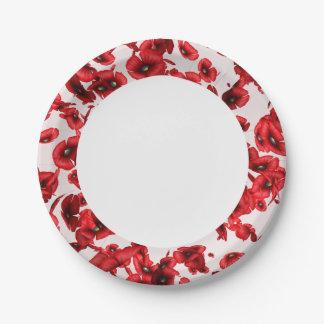 Las amapolas rojas que volaban afilaron las placas plato de papel de 7 pulgadas
