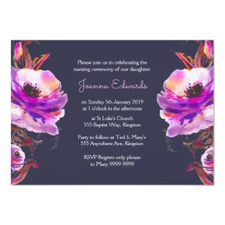 """Las amapolas violetas de la acuarela que nombran invitación 5"""" x 7"""""""
