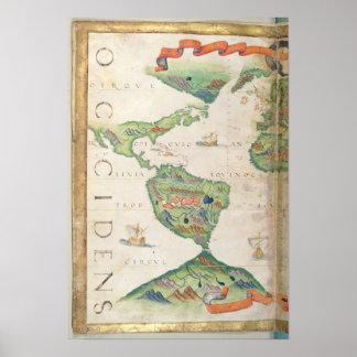 Las Américas, detalle del atlas del mundo, 1565 Póster