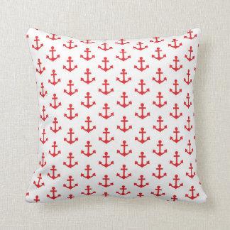 Las anclas modelan al marinero blanco rojo náutico cojín