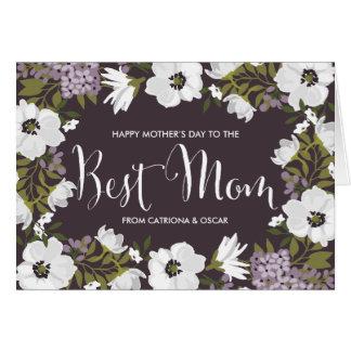 Las anémonas de la lila florecen tarjeta feliz del