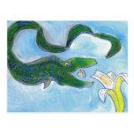 ¡Las anguilas comen plátanos! Postal