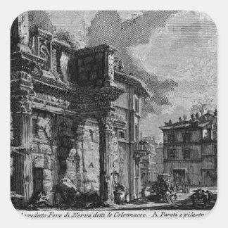 Las antigüedades romanas, T. 1, placa XXX. Foro Pegatina Cuadrada