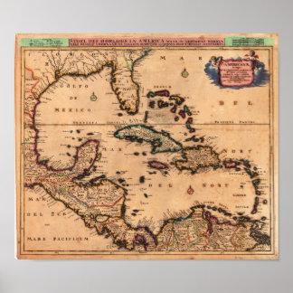 Las Antillas Danckerts, Cornelio 1680 Posters