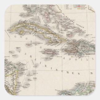 Las Antillas y America Central Pegatinas Cuadradas