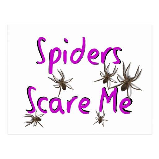 """Las """"arañas me asustan"""" las camisetas y los regalo tarjetas postales"""