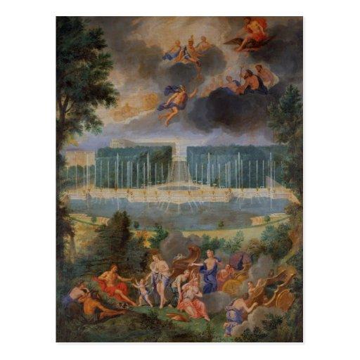Las arboledas de Versalles. Vista de la piscina de Tarjetas Postales