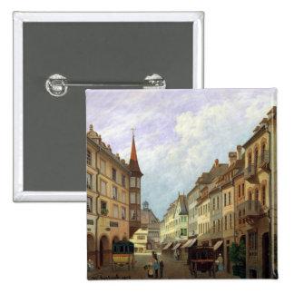Las arcadas, ruda magnífica, Colmar, 1876 Pin Cuadrado