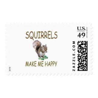 Las ardillas me hacen feliz sello postal