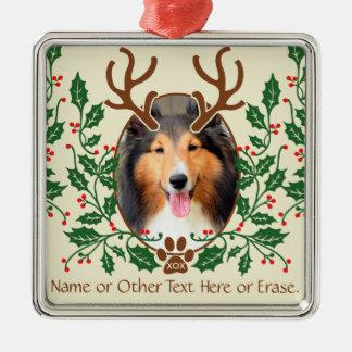 Las astas del navidad para el perro/el gato adorno navideño cuadrado de metal