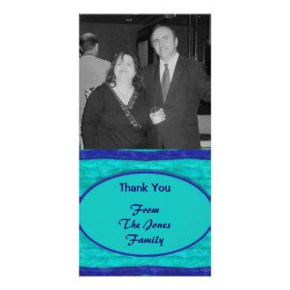 Las azules turquesas le agradecen plantilla para tarjeta de foto