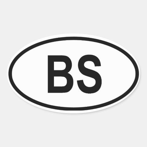 "Las Bahamas ""BS "" Pegatina Ovalada"