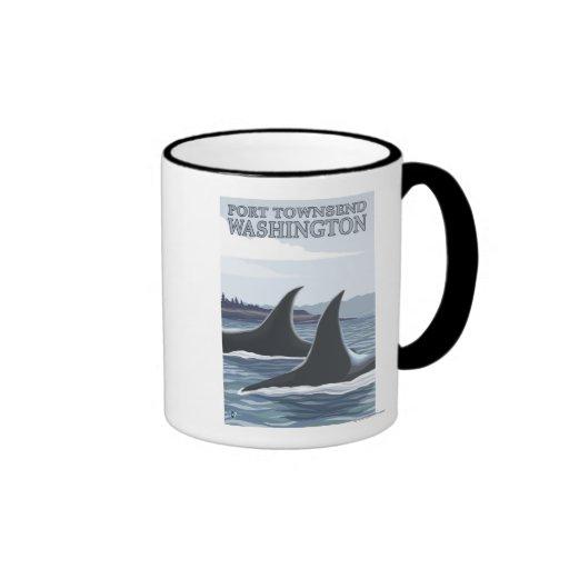 Las ballenas #1 de la orca - vire a Townsend hacia Taza De Dos Colores