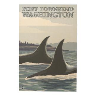 Las ballenas #1 de la orca - vire a Townsend hacia Impresión En Madera