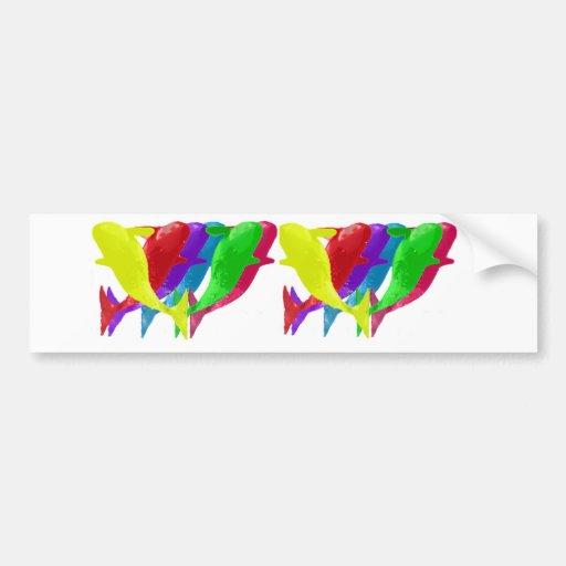 Las ballenas de la orca saltan en seis Multicolors Etiqueta De Parachoque