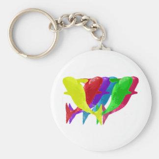 Las ballenas de la orca saltan en seis Multicolors Llavero Redondo Tipo Pin