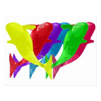 Las ballenas de la orca saltan en seis Multicolors Tarjetas Postales