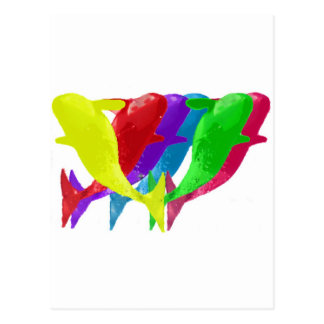 Las ballenas de la orca saltan en seis Multicolors Postales