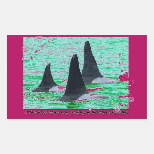 Las ballenas de la orca vienen navegación el día rectangular pegatina