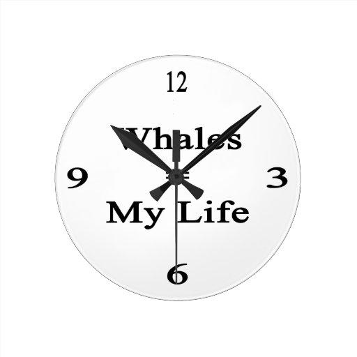 Las ballenas igualan mi vida relojes de pared