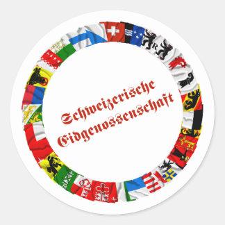 Las banderas de los cantones de Suiza, alemanes Pegatina Redonda