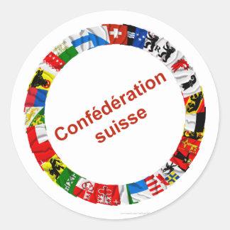 Las banderas de los cantones de Suiza, franceses Pegatina Redonda