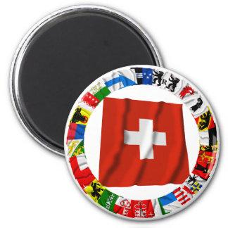 Las banderas de los cantones de Suiza Imán Redondo 5 Cm