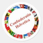 Las banderas de los cantones de Suiza, latinos Pegatina Redonda