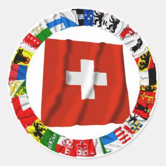 Las banderas de los cantones de Suiza Pegatina Redonda