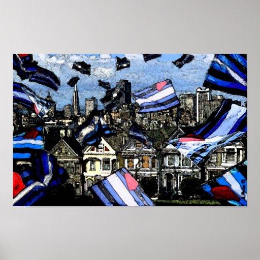 """Las """"banderas de orgullo de cuero invaden fresco d póster"""