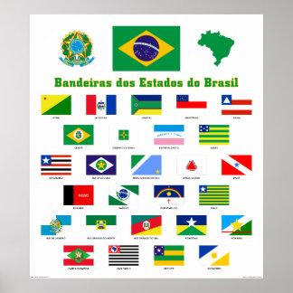 Las banderas del poster del Brasil