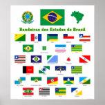 Las banderas del poster del Brasil Póster