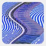 Las barras azules tuercen el modelo del arte abstr colcomania cuadrada