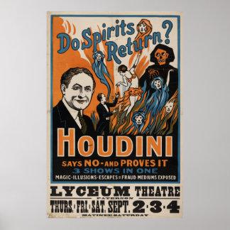¿Las bebidas espirituosas vuelven? Houdini dice no Póster