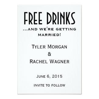 """Las """"bebidas libres"""" ahorran las fechas invitación 5"""" x 7"""""""