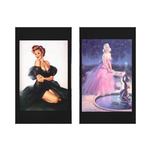 las bellezas de los años 50 envolvieron la lona impresión en lienzo