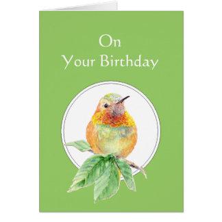 Las bendiciones de dios en su colibrí del cumpleañ tarjeta de felicitación
