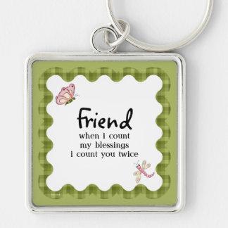 Las bendiciones de la amistad de la mariposa de la llavero personalizado
