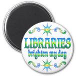 Las bibliotecas aclaran mi día imán para frigorifico