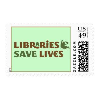 Las bibliotecas ahorran vidas estampilla