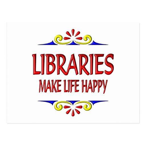 Las bibliotecas hacen vida feliz tarjetas postales