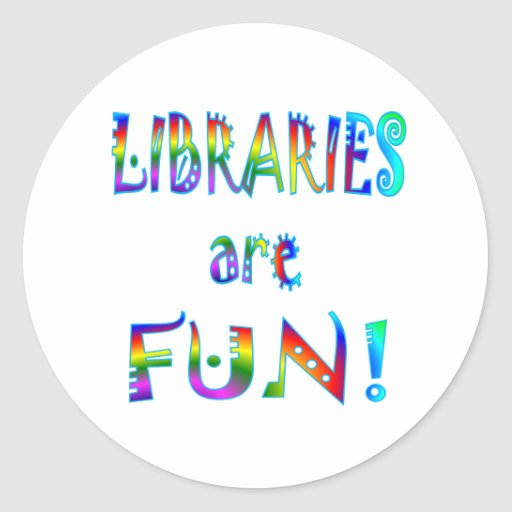 Las bibliotecas son diversión pegatinas redondas